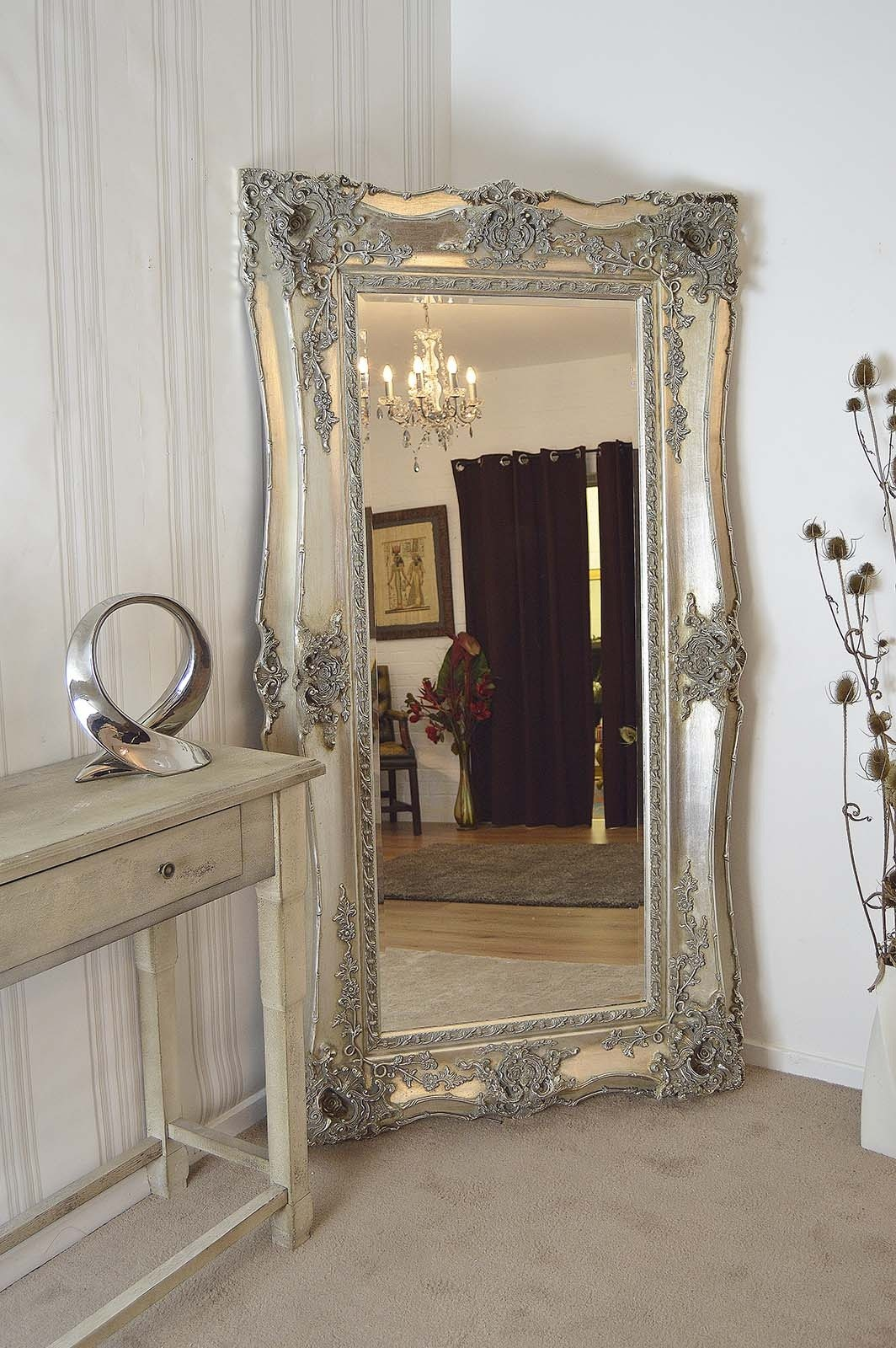 Classy floor length mirrors ornate ornament mirror frame can be place at your beautiful bedroom Ideas