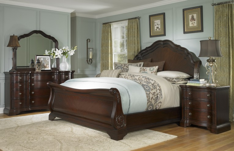 Classy Headboars King Sleigh Bed With Royal Duvet Cover And Luxury Sheets Also Unique Area Rug Above Laminate Flooring Ideas
