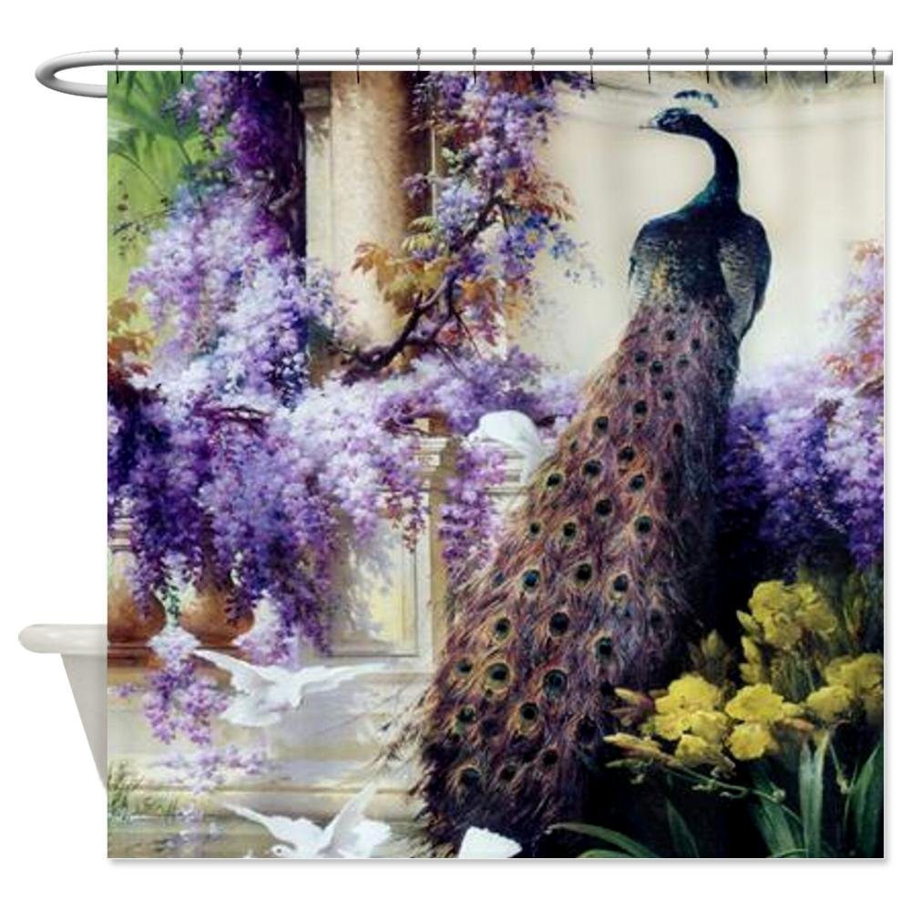 Classy peacock shower curtain featuring beautiful color peacock shower curtain and sidetable with rollers for your beautiful modern bathroom shower ideas
