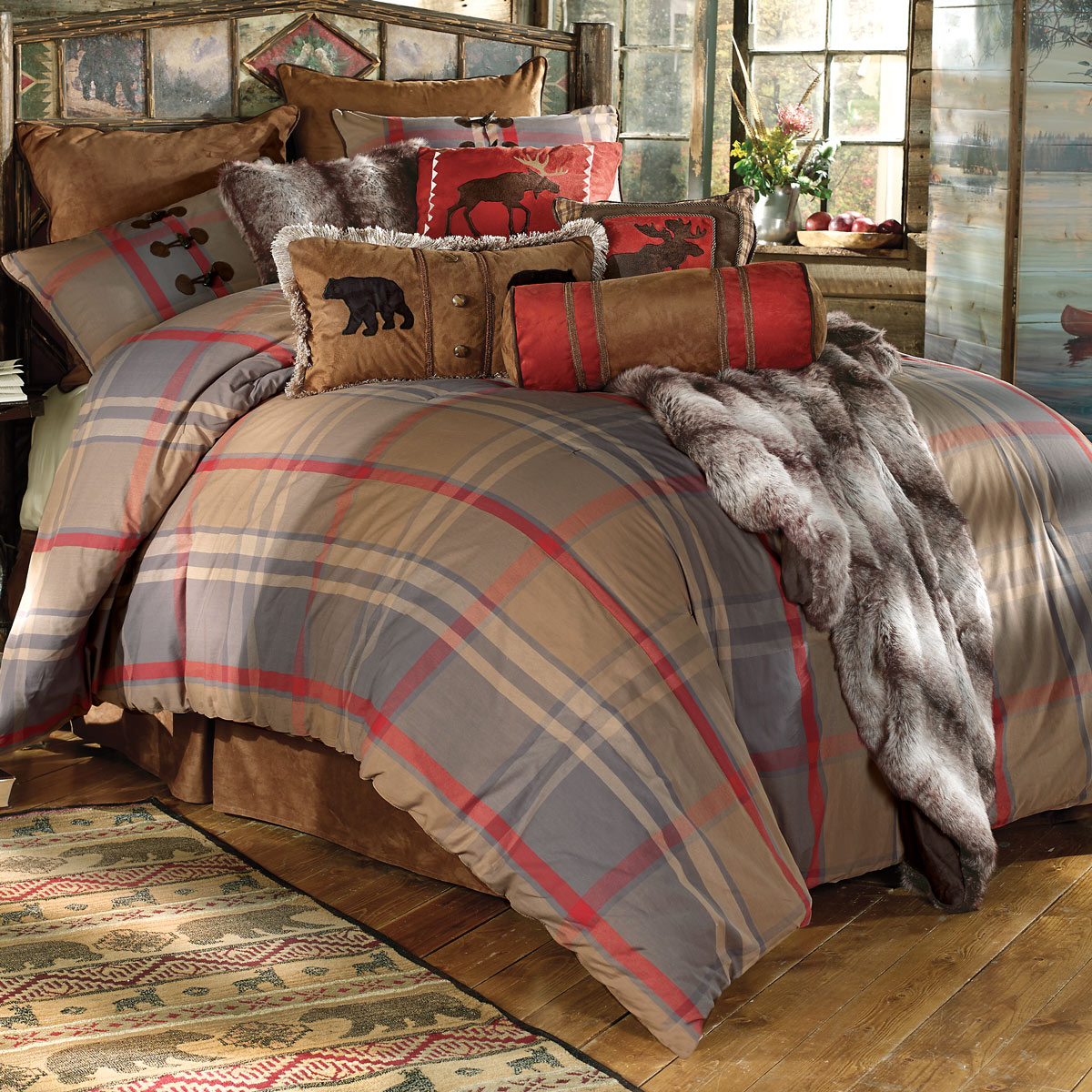 Classy plaid comforter with rugs and wooden floor plus headboard and sidetable also pillows