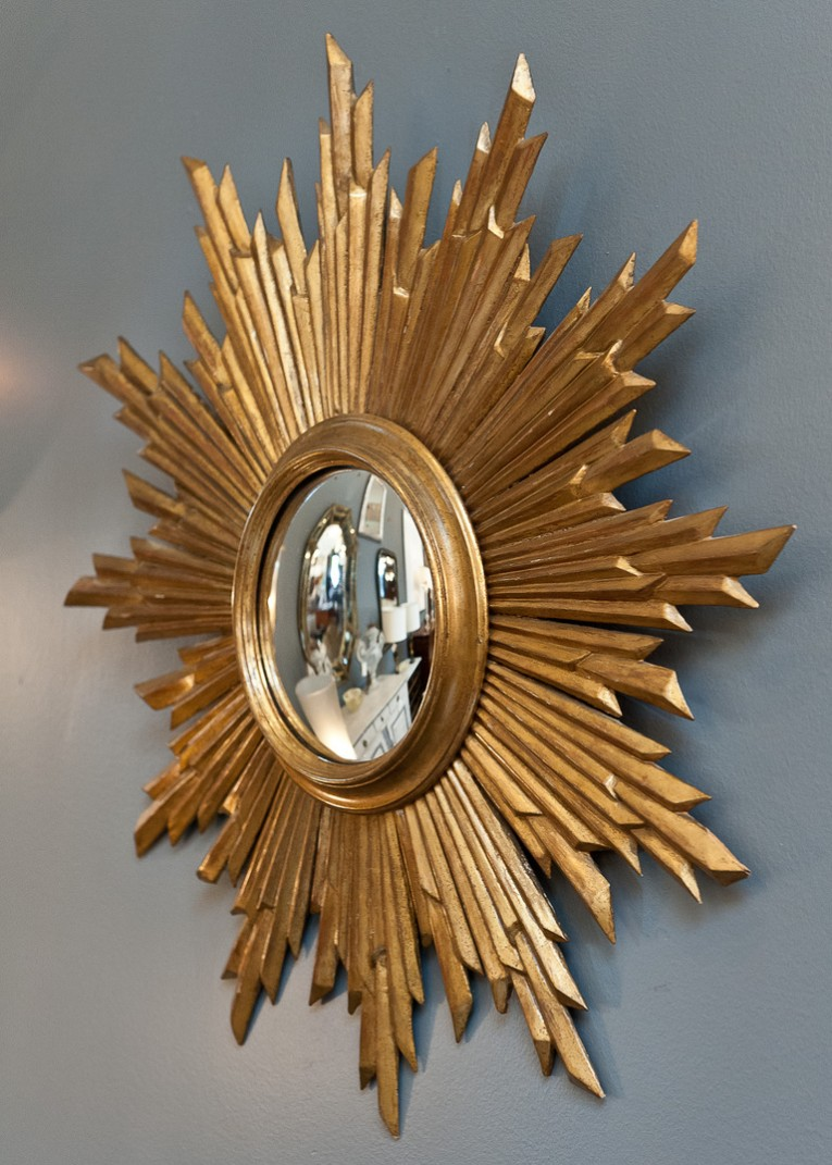 Classy Sunburst Mirrors With Rustic Table And Night Lap Combined Plus Luxury Wall
