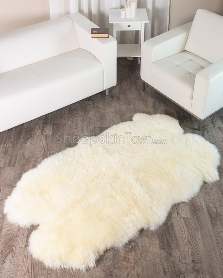 Comfy 4x6 Rugs Sheepskin Rug And Dark Laminate Floor Also Sectional Sofa Combined With Queen Bedsize For Living Room Or Bedroom