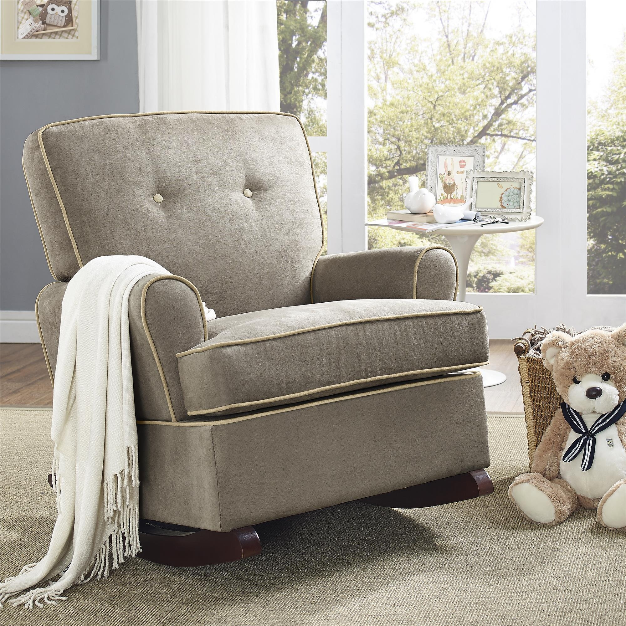 Comfy fabric upholstered glider rocker with armchairs and wooden laminate floor for living room