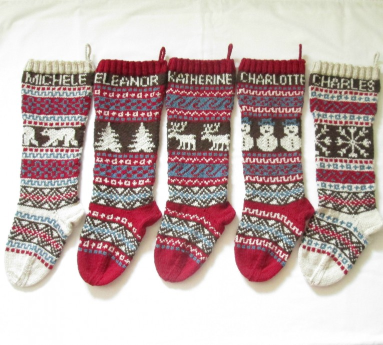 Comfy Knit Christmas Stockings With Multicolorful Christmas Stocking And Fireplace At Chistmas Day Interior Design