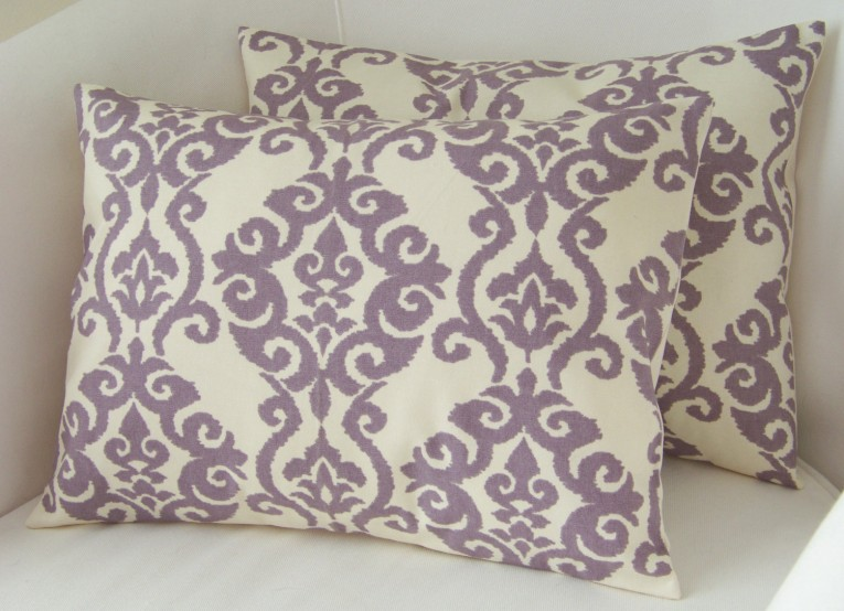 Comfy Purple Throw Pillows With Lavender Pillow Colors And With Abstract Pattern Cushion For Sectional L Sofa Living Room Ideas