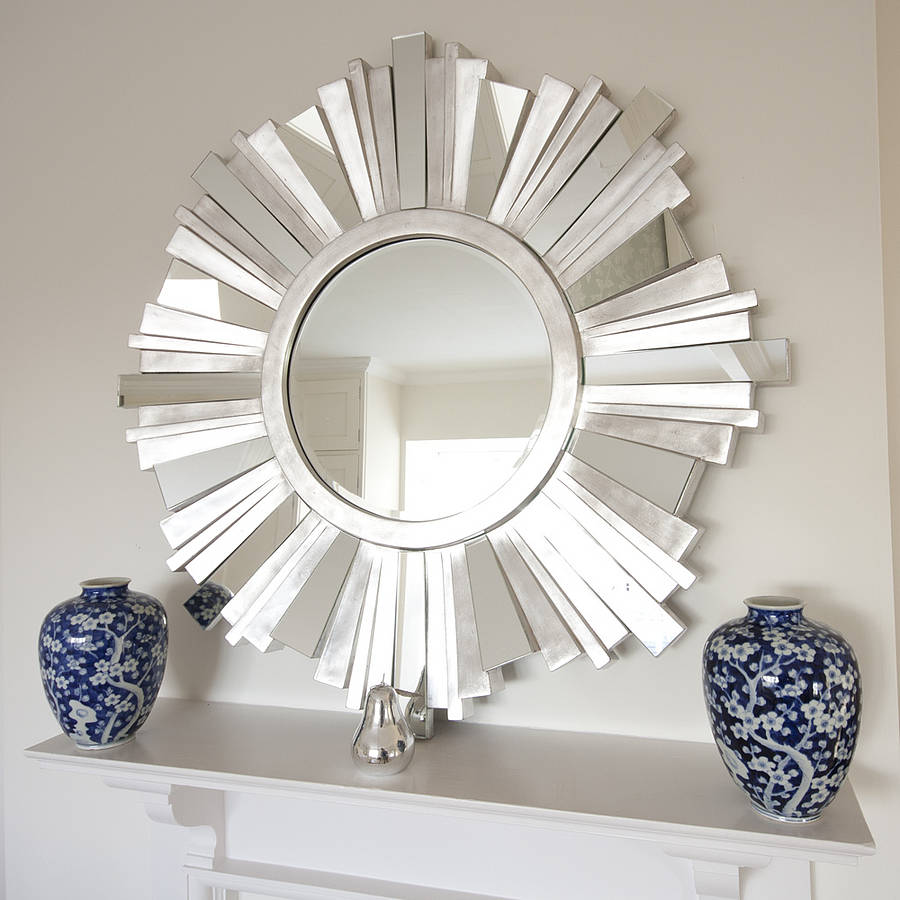 Comfy sunburst mirrors with rustic table and night lap combined plus luxury wall