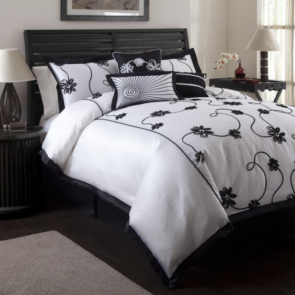 Cool Bedroom with black and white comforter sets and laminate porcelain floor also curtain and sidetables