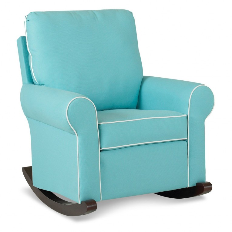 Cool Fabric Upholstered Glider Rocker With Armchairs And Wooden Laminate Floor For Living Room