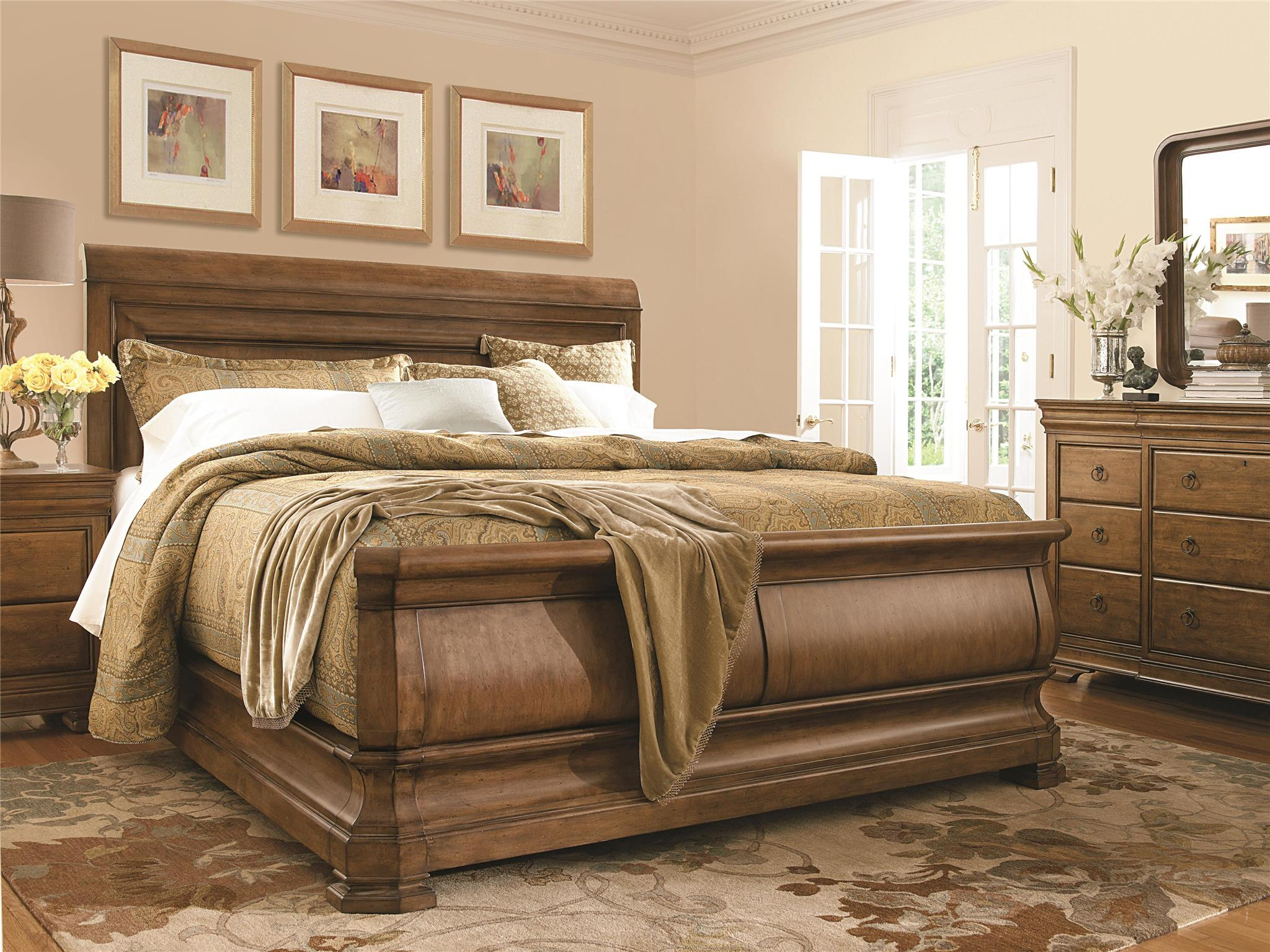 Cool headboars king sleigh bed with royal duvet cover and luxury sheets also unique area rug above laminate flooring ideas