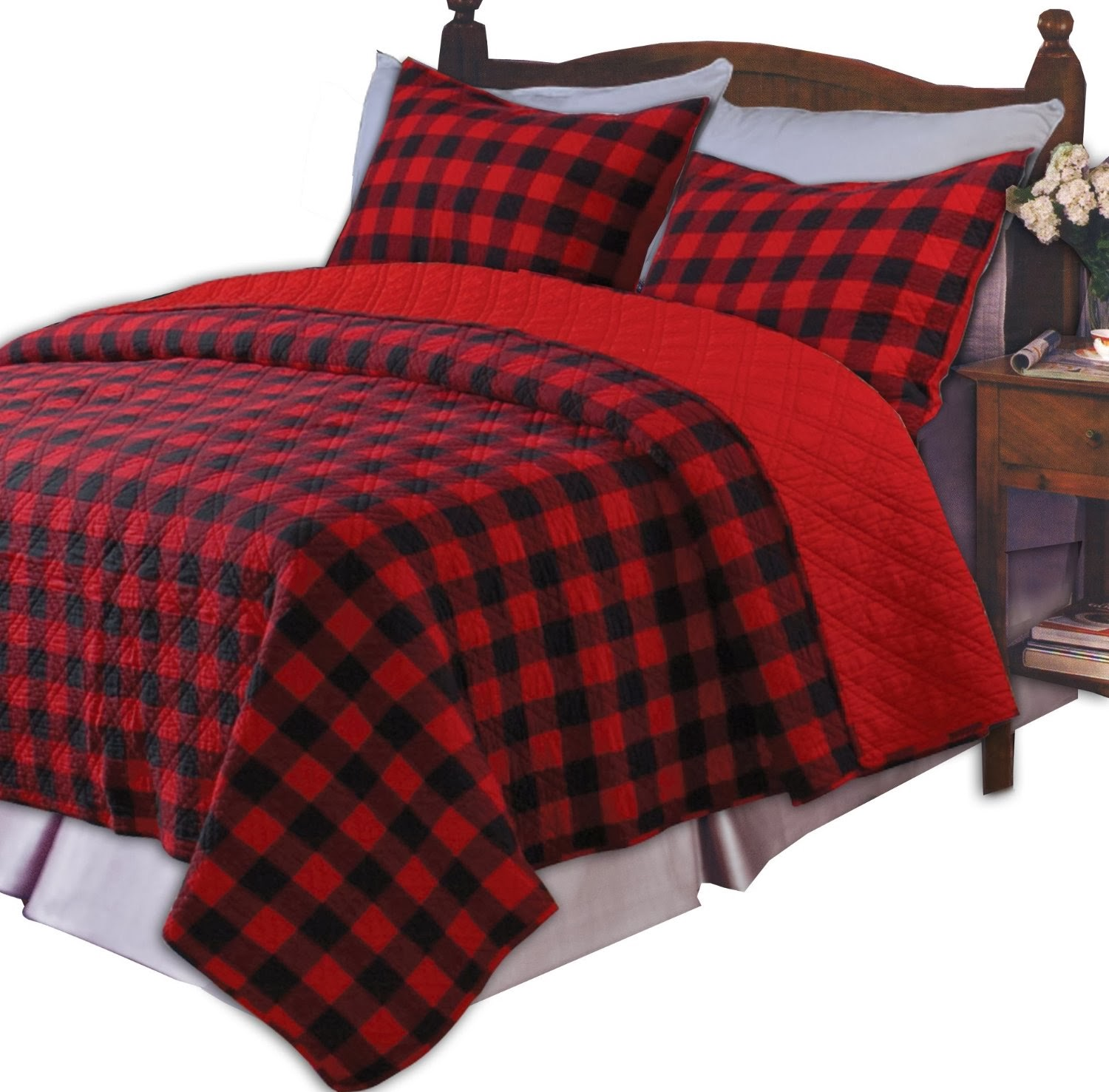 Cool plaid comforter with rugs and wooden floor plus headboard and sidetable also pillows