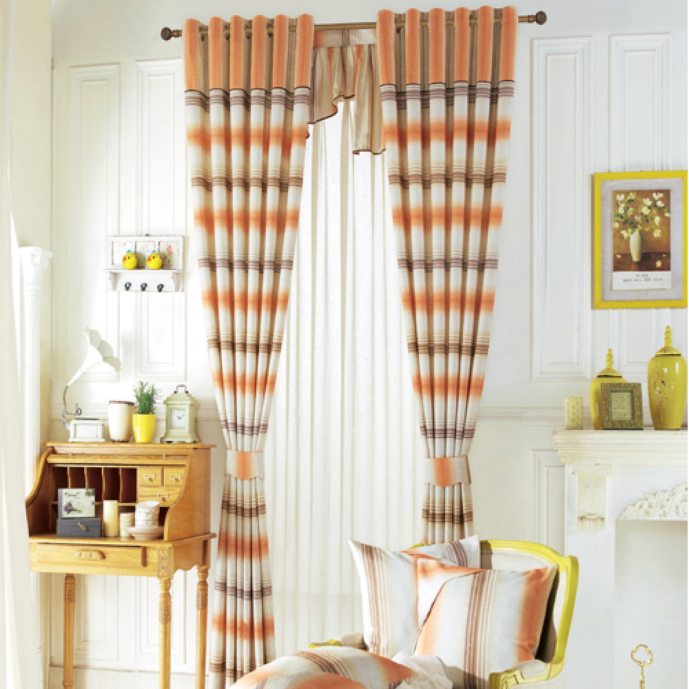 Cool striped curtains with long curtain and nightlamps also single sofa combined with fluufy rug and lowes mini table