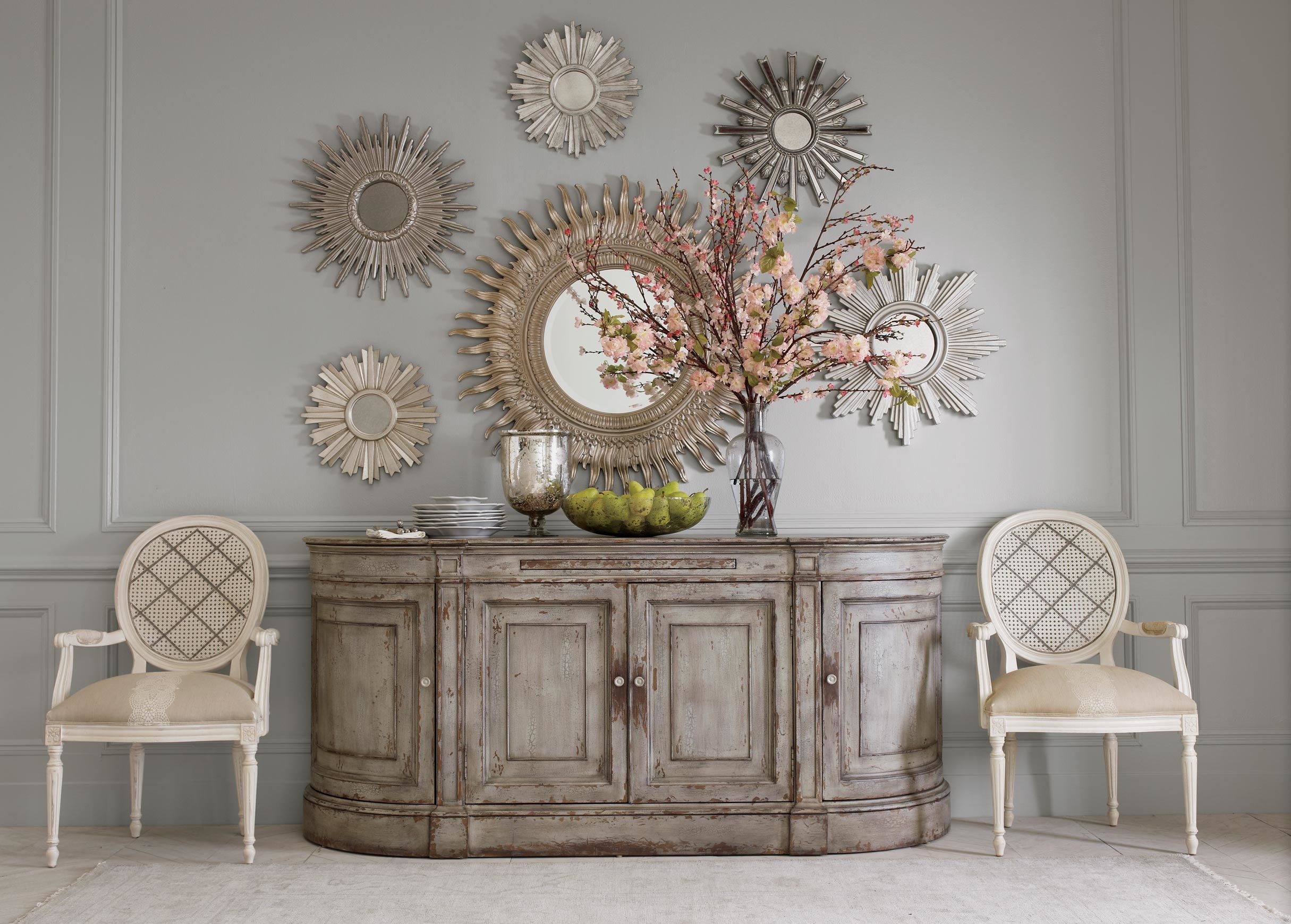 Cool sunburst mirrors with rustic table and night lap combined plus luxury wall