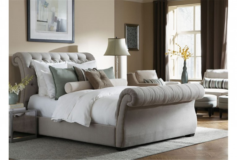 Cozy Headboars King Sleigh Bed With Royal Duvet Cover And Luxury Sheets Also Unique Area Rug Above Laminate Flooring Ideas