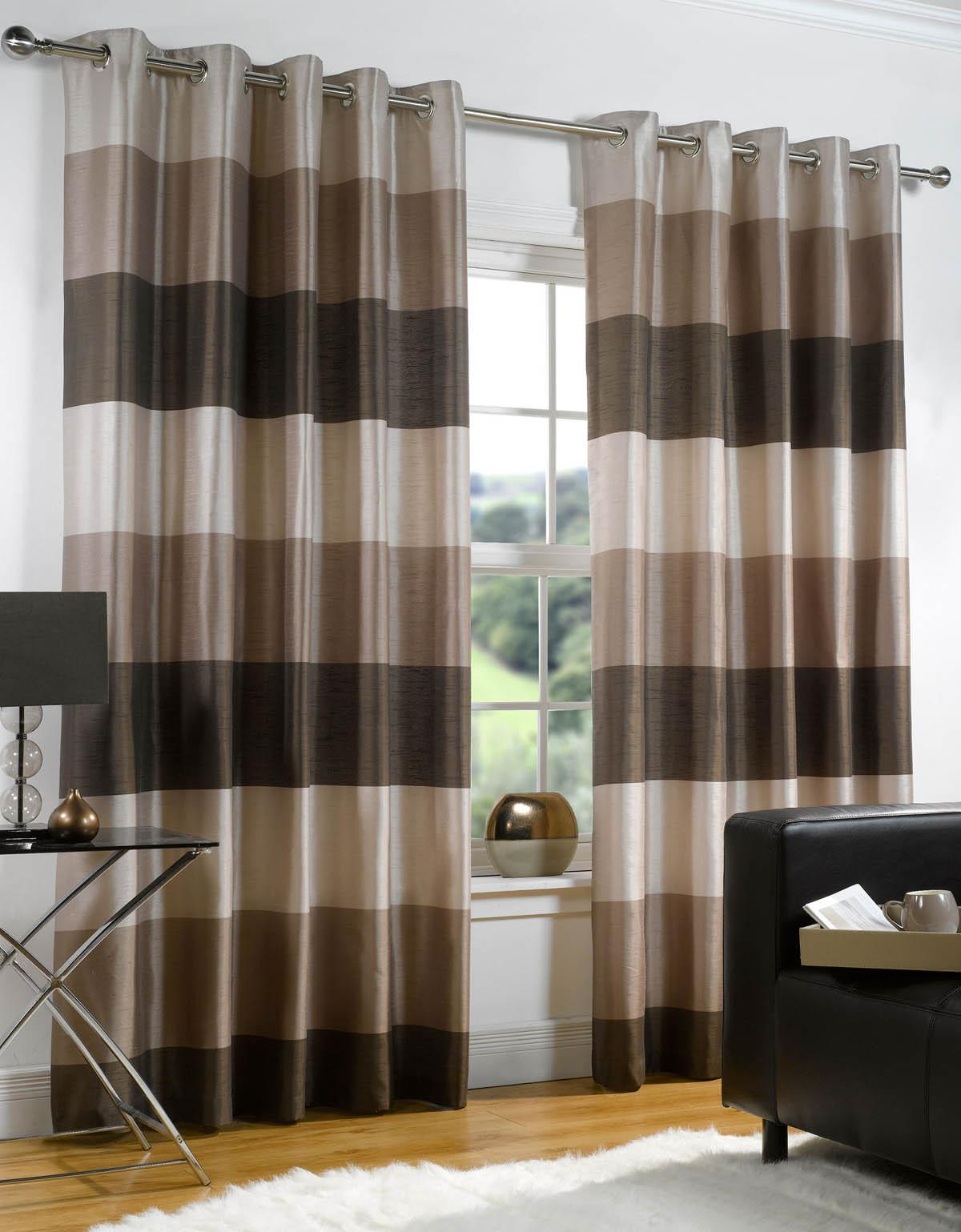 Cozy striped curtains with long curtain and nightlamps also single sofa combined with fluufy rug and lowes mini table
