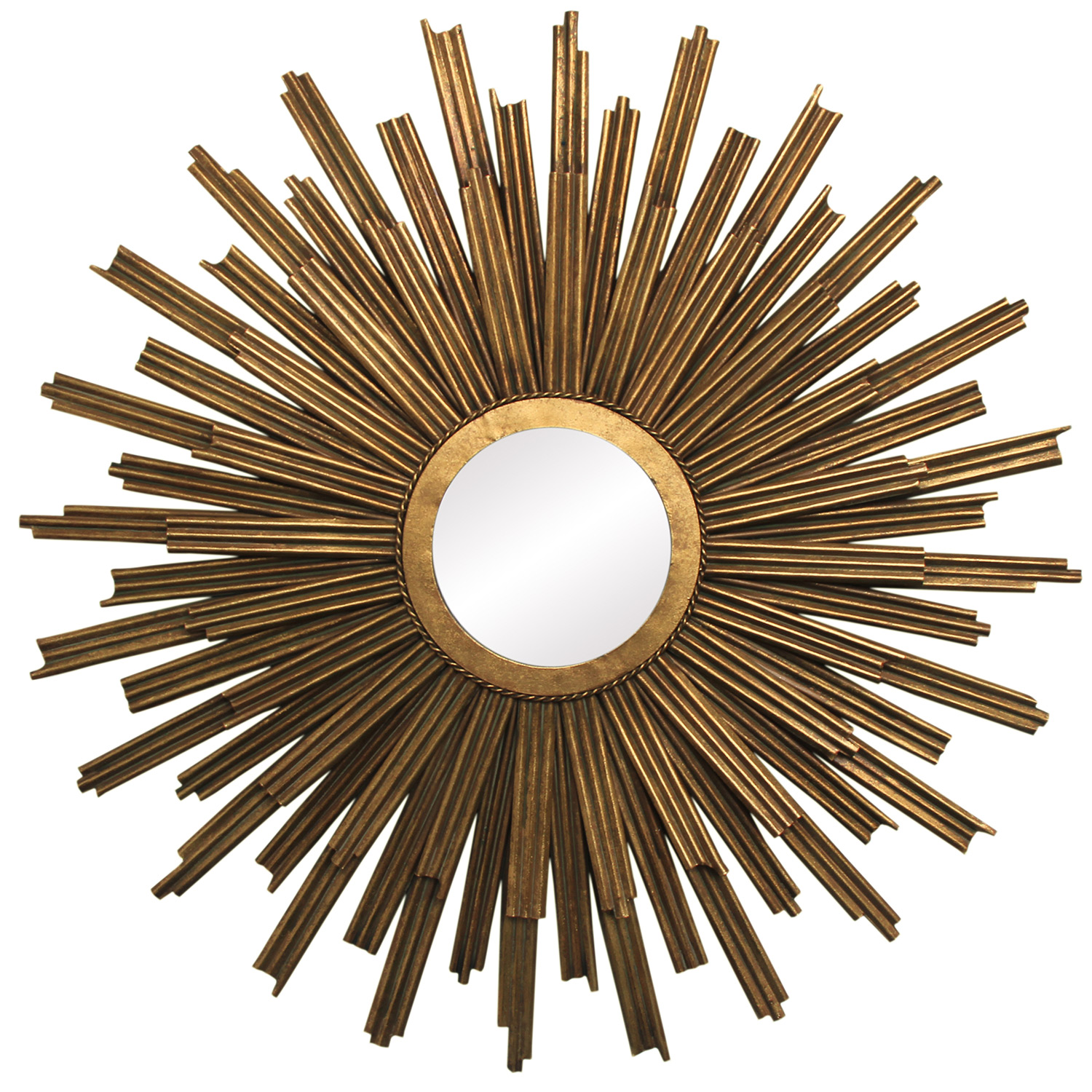 Cozy sunburst mirrors with rustic table and night lap combined plus luxury wall