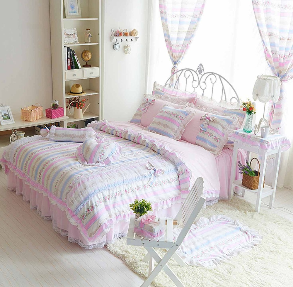 Cozy white pink comforters for teens and lovely table