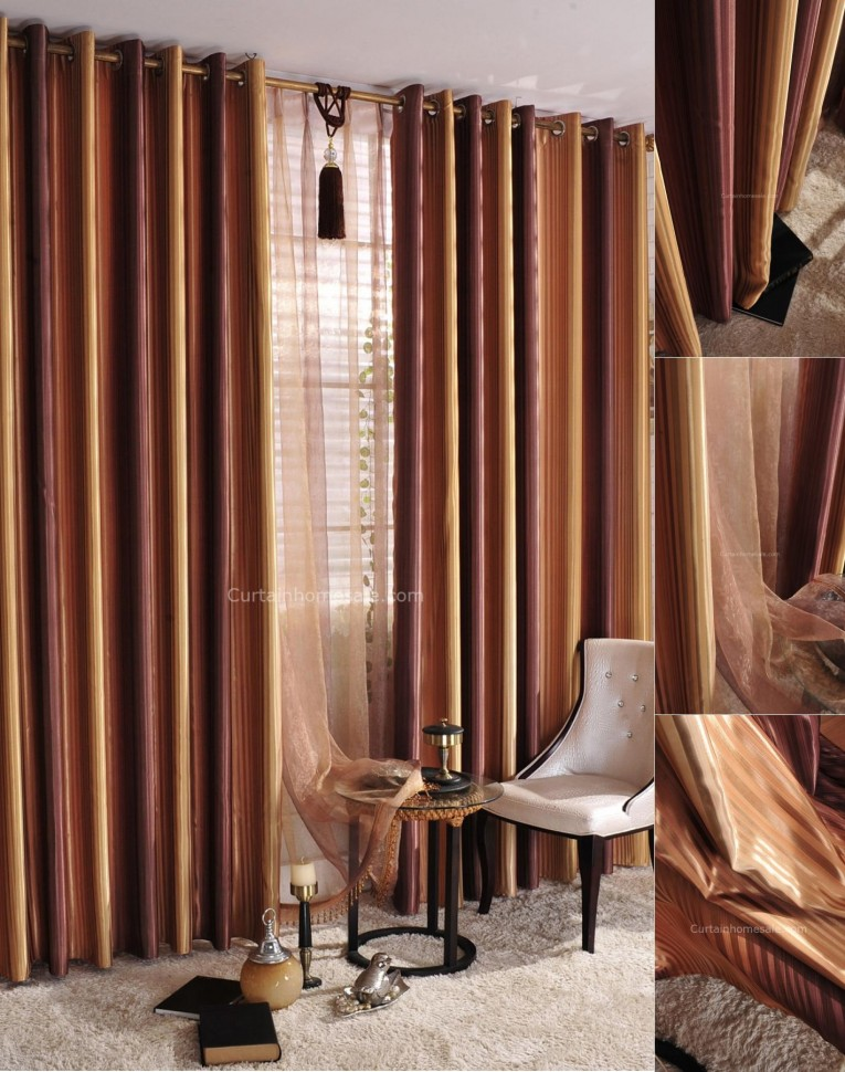 Creative Striped Curtains With Long Curtain And Nightlamps Also Single Sofa Combined With Fluufy Rug And Lowes Mini Table