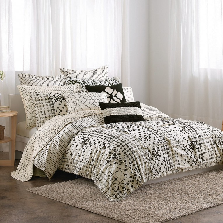 Cute Donna Karan Bedding With Cushion And Pillows Also Beautiful Duvet Cover And Sidetable And Luxury Wall Paint Color