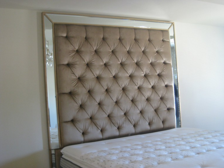 Cute Quilted Headboard With Pillows And Queen Bed Size Platform Decorating Combined With Night Lamp And Sidetable