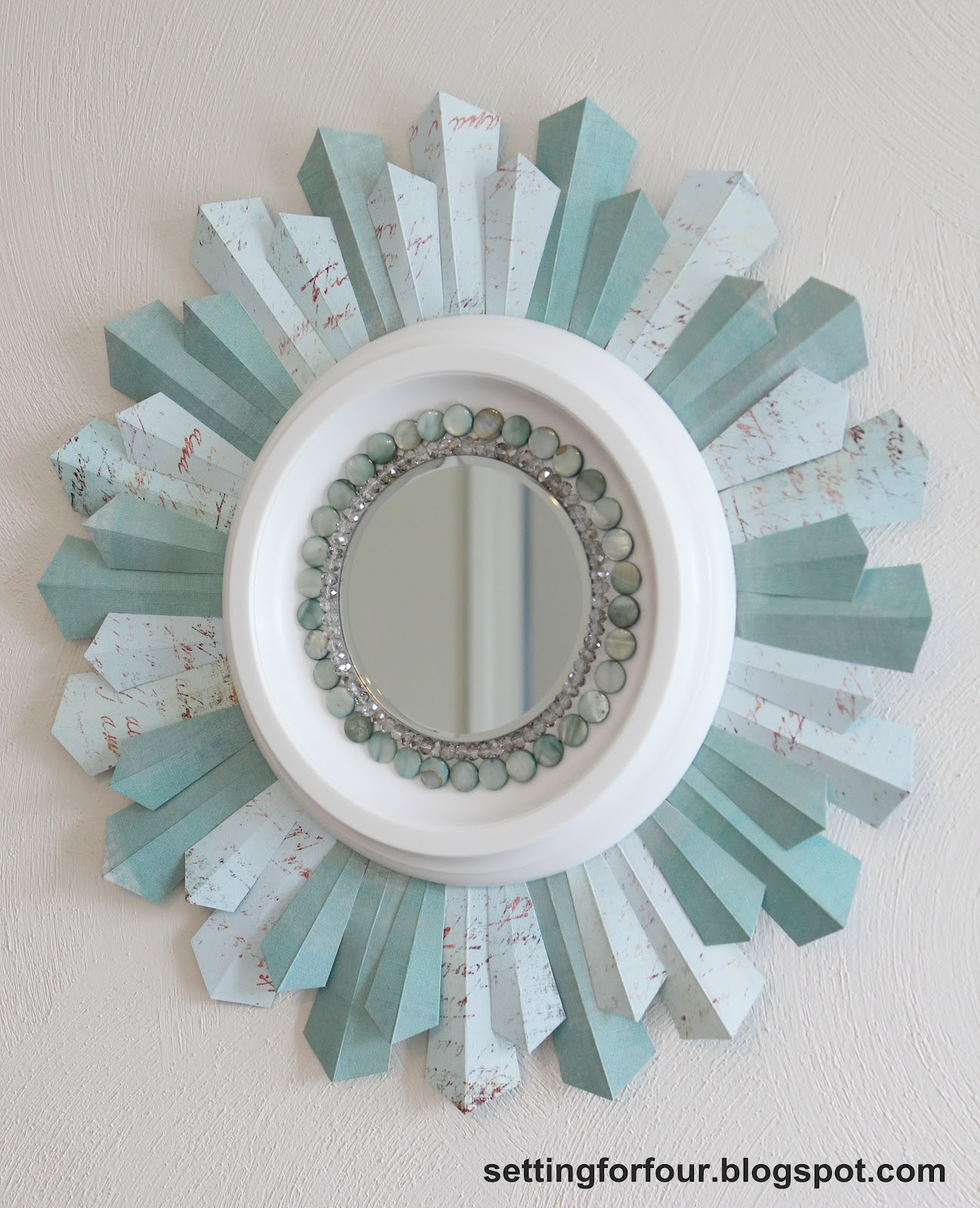 Cute sunburst mirrors with rustic table and night lap combined plus luxury wall