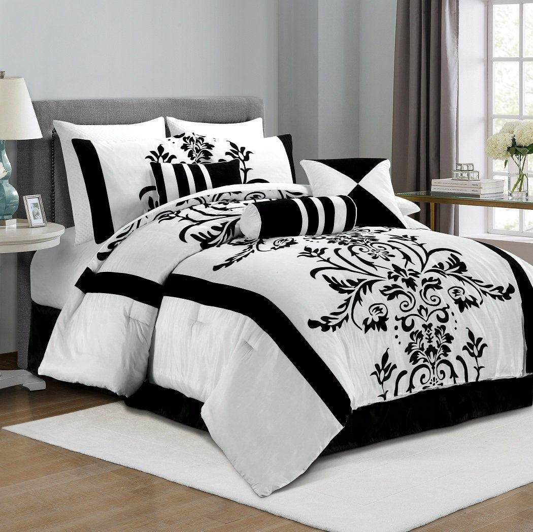 Dazzling Bedroom with black and white comforter sets and laminate porcelain floor also curtain and sidetables