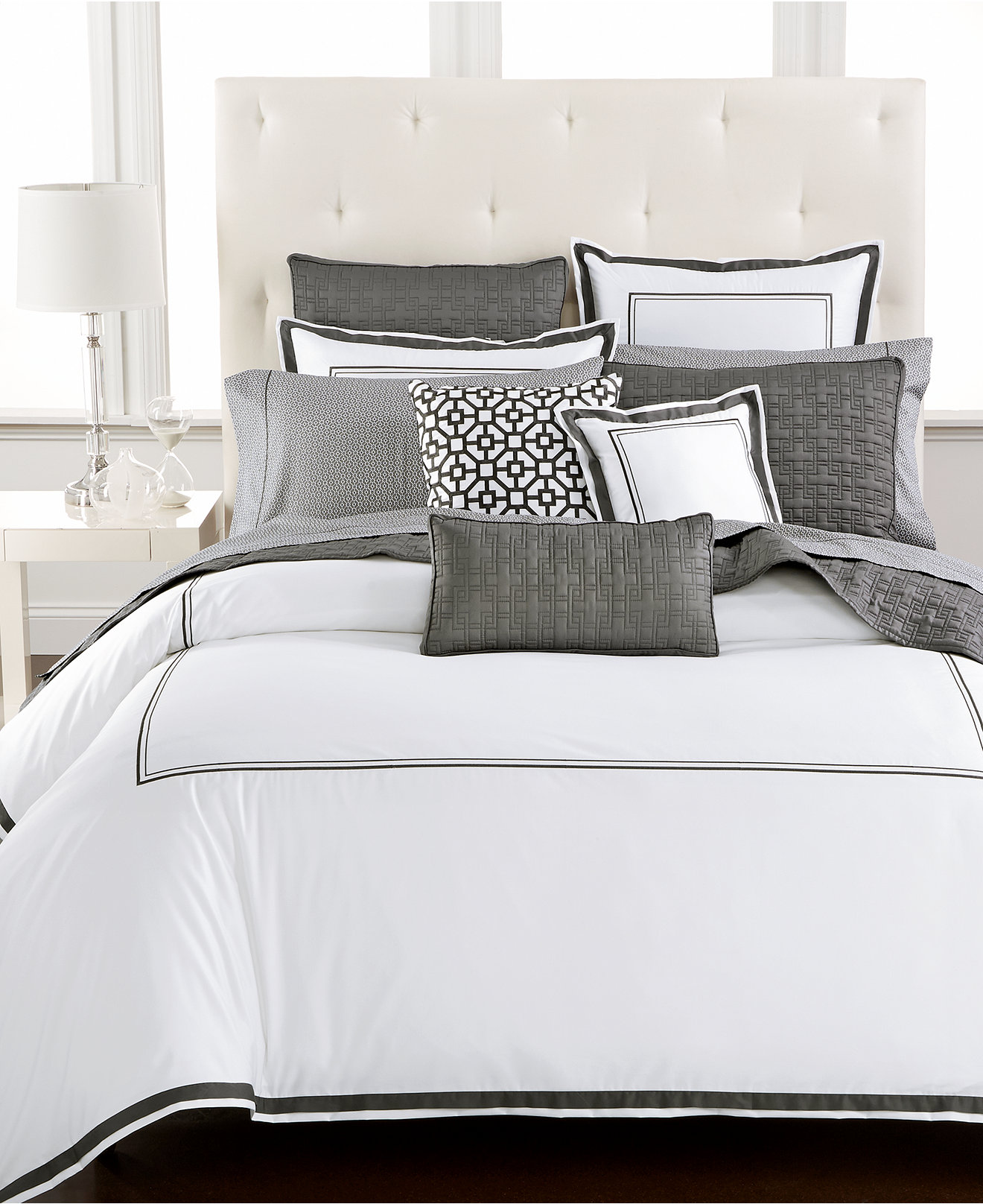 Dazzling donna karan bedding with Cushion and pillows also beautiful duvet cover and sidetable and luxury wall paint color