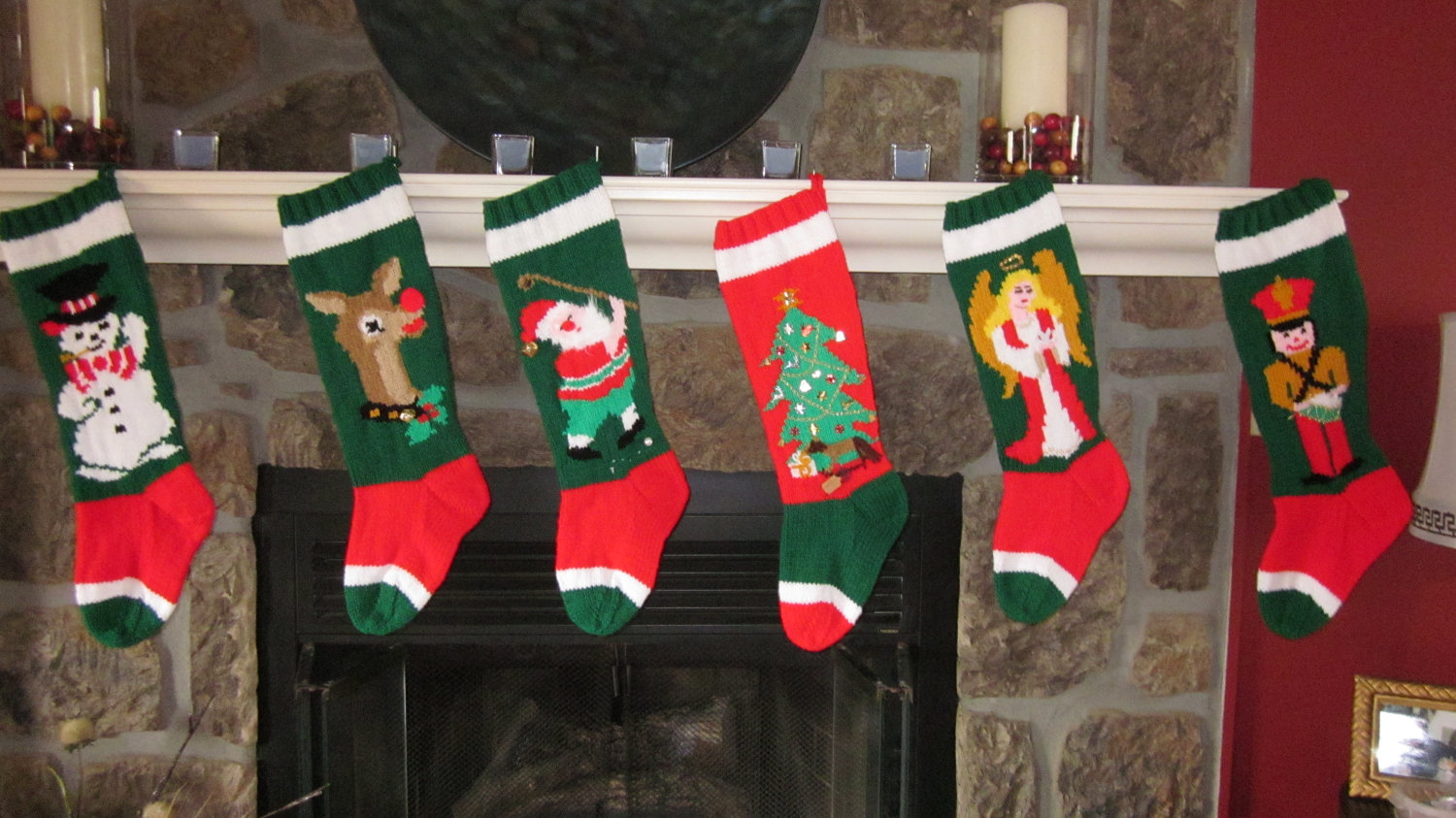 Dazzling knit christmas stockings with multicolorful christmas stocking and fireplace at chistmas day interior design