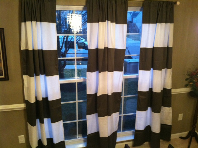 Dazzling Striped Curtains With Long Curtain And Nightlamps Also Single Sofa Combined With Fluufy Rug And Lowes Mini Table
