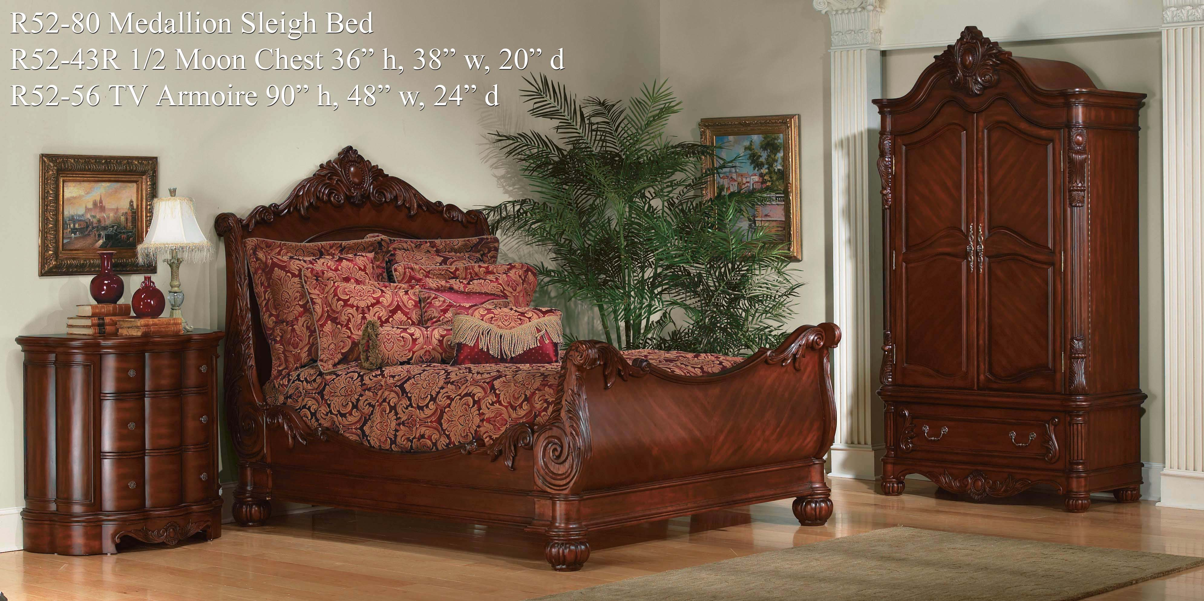 Deluxe headboars king sleigh bed with royal duvet cover and luxury sheets also unique area rug above laminate flooring ideas