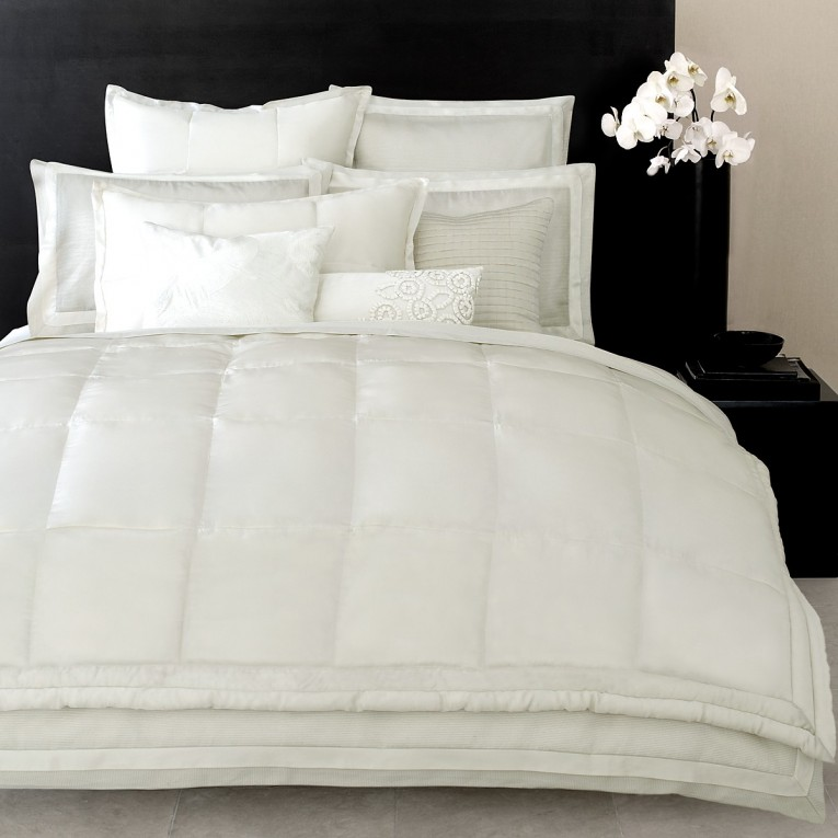 Elegant Donna Karan Bedding With Cushion And Pillows Also Beautiful Duvet Cover And Sidetable And Luxury Wall Paint Color