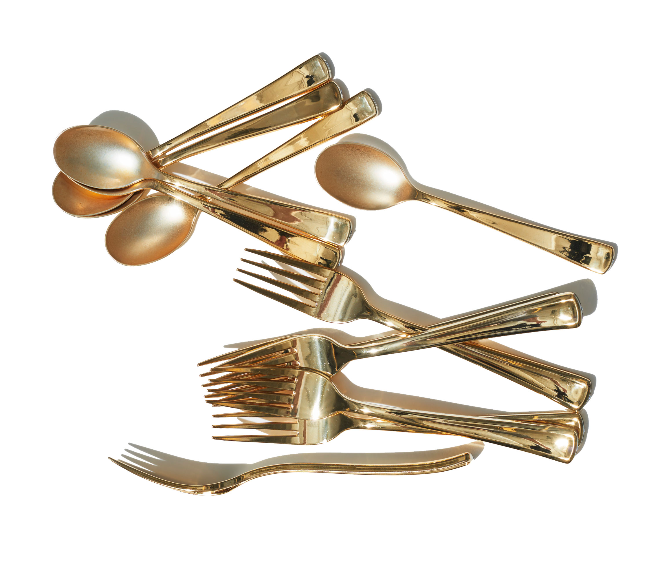 Elegant gold plastic silverware with glitters gold plastic silverware for serverware ideas