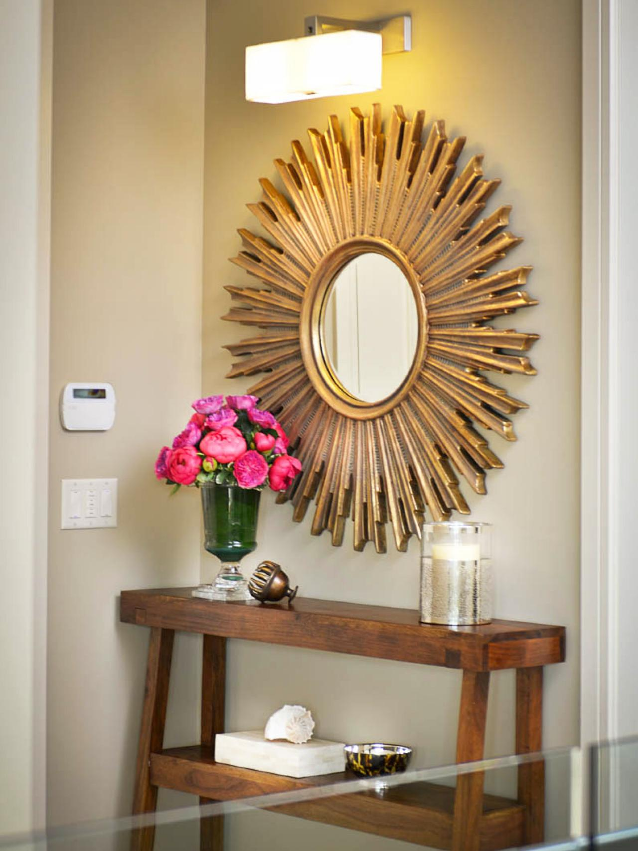Elegant sunburst mirrors with rustic table and night lap combined plus luxury wall