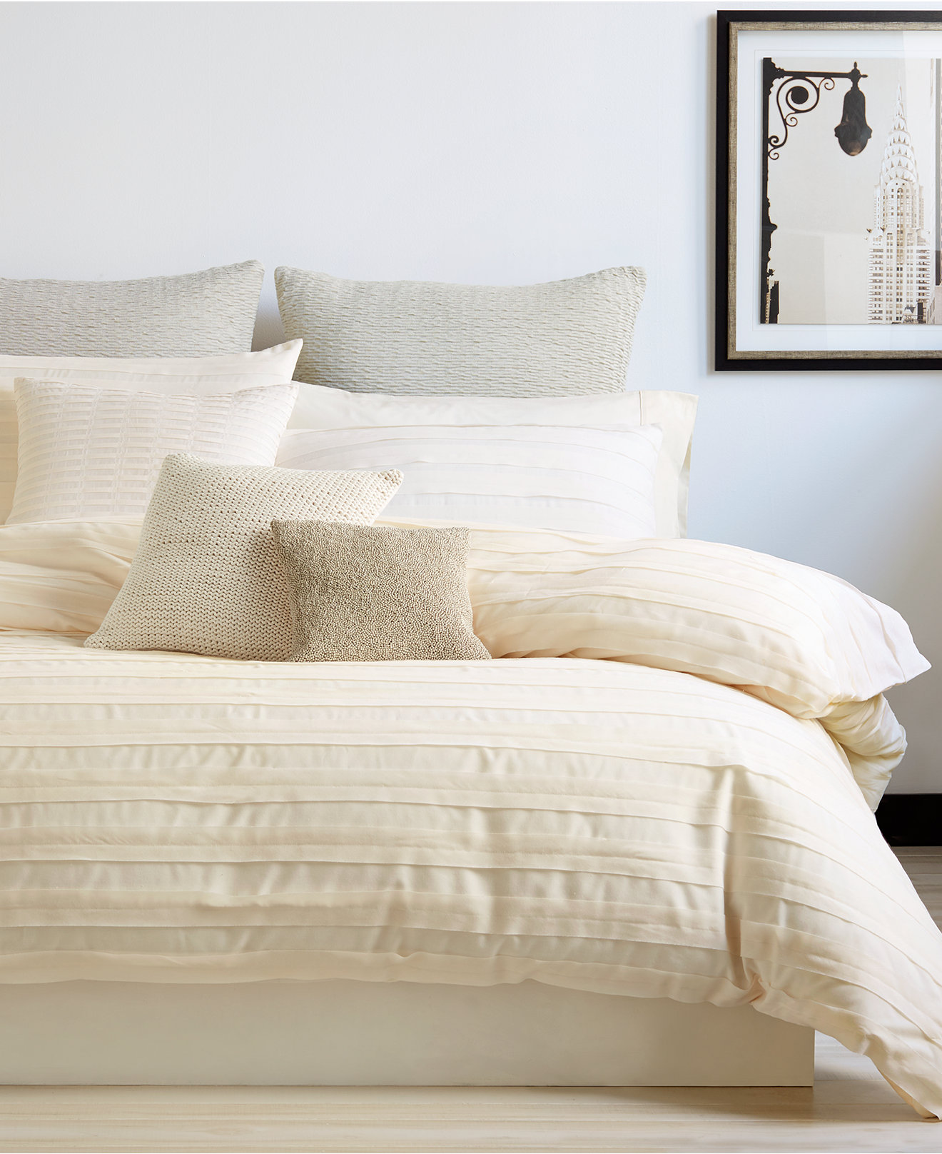 Enchanting donna karan bedding with Cushion and pillows also beautiful duvet cover and sidetable and luxury wall paint color
