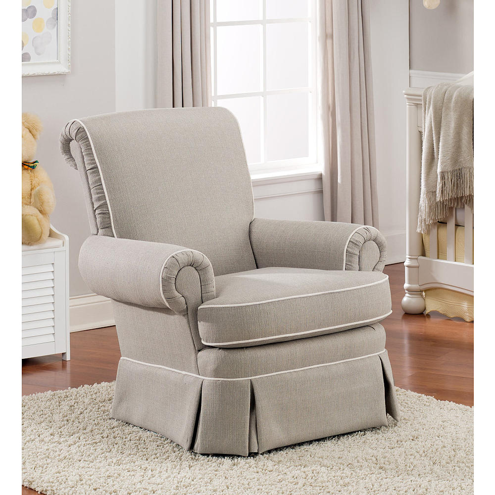 Enchanting fabric upholstered glider rocker with armchairs and wooden laminate floor for living room