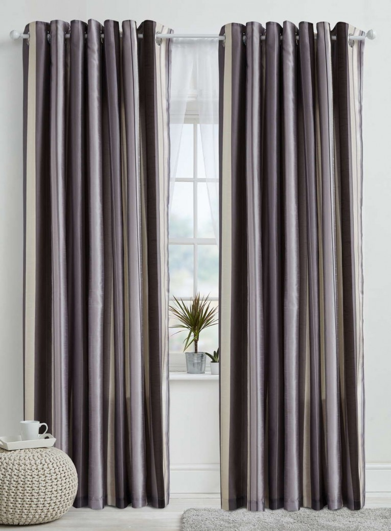 Enchanting Striped Curtains With Long Curtain And Nightlamps Also Single Sofa Combined With Fluufy Rug And Lowes Mini Table