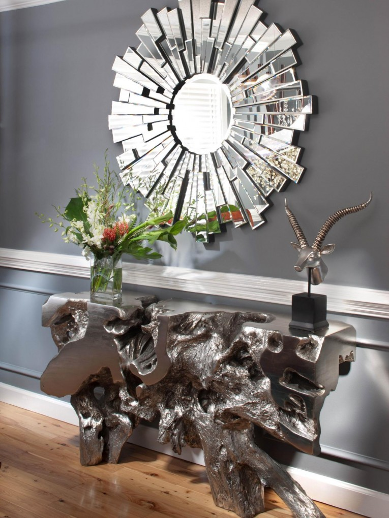 Enchanting Sunburst Mirrors With Rustic Table And Night Lap Combined Plus Luxury Wall