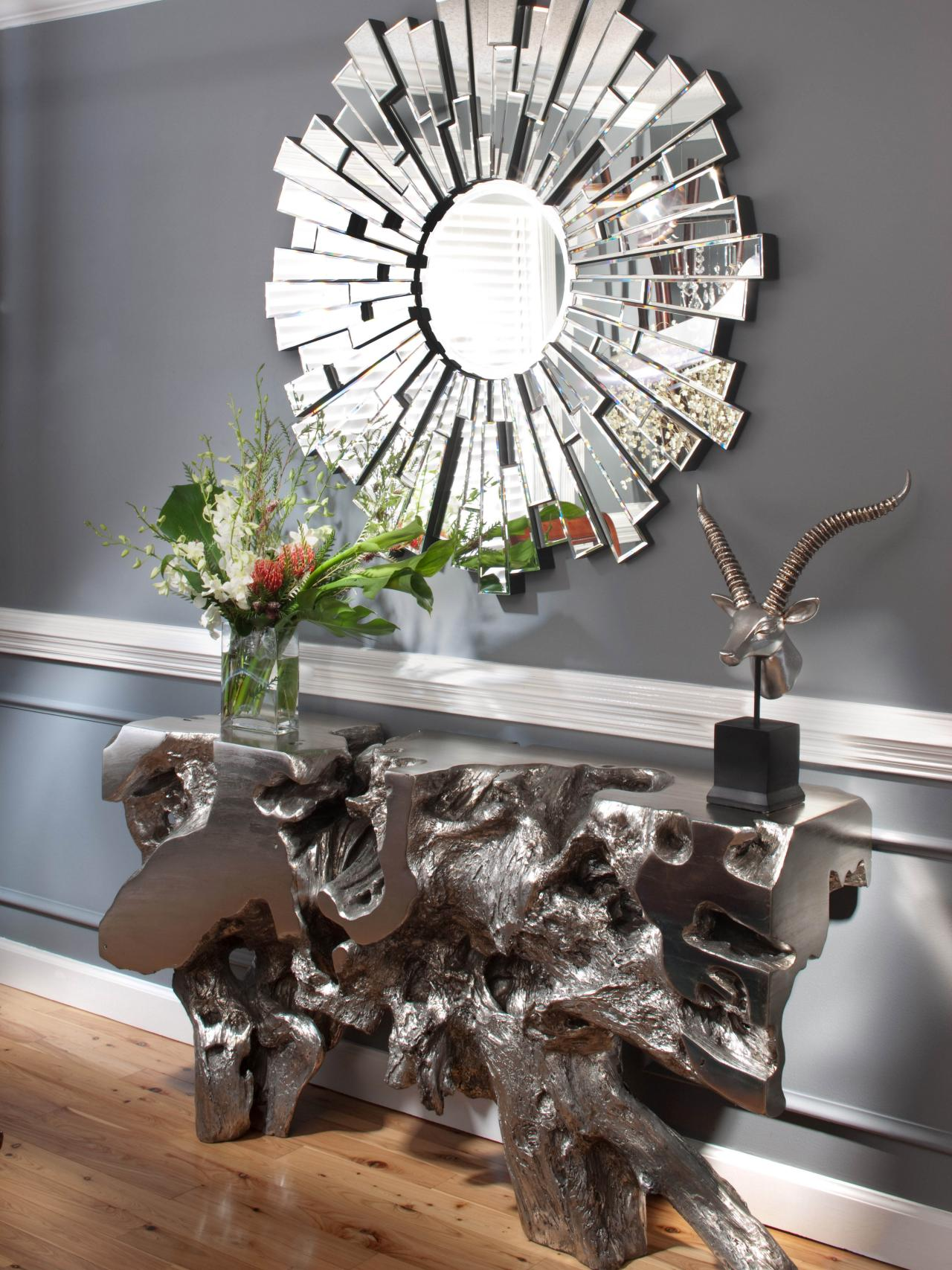 Mesmerizing Sunburst Mirrors at The Wall: Enchanting Sunburst Mirrors With Rustic Table And Night Lap Combined Plus Luxury Wall