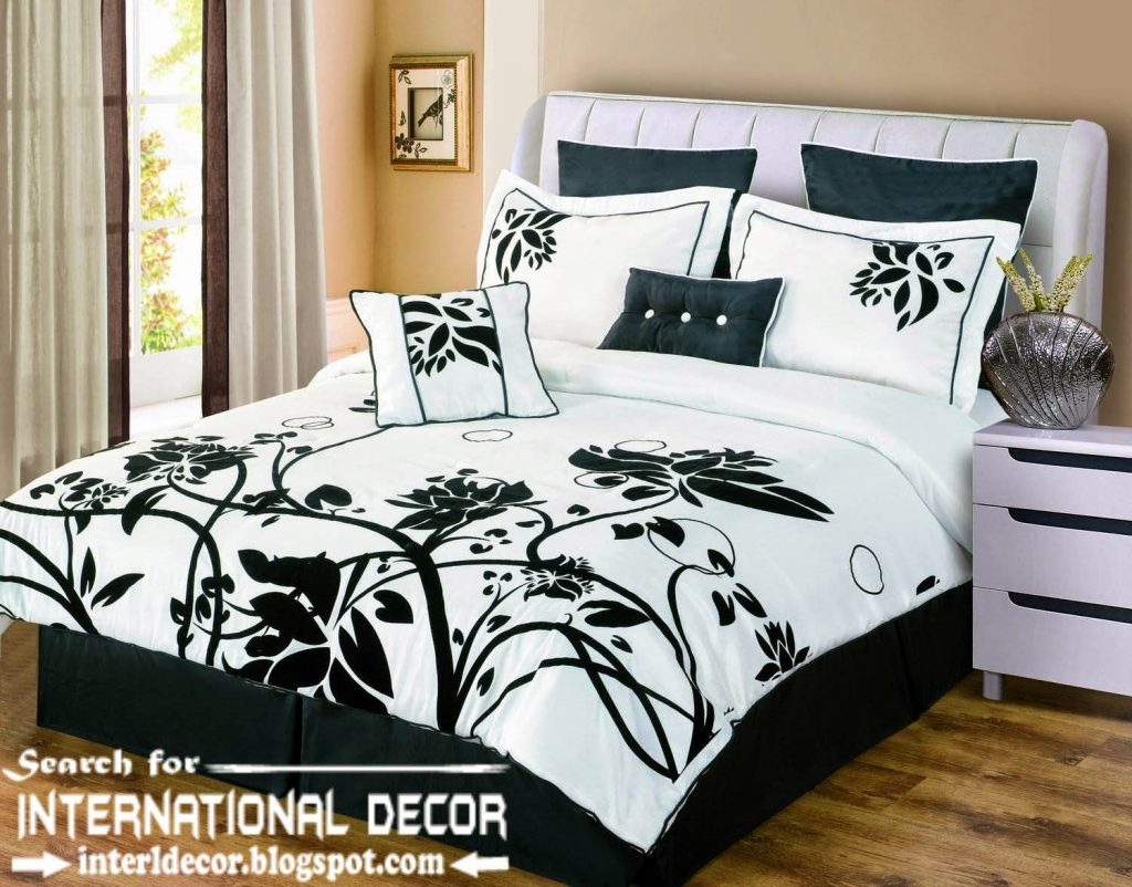 Endearing Bedroom with black and white comforter sets and laminate porcelain floor also curtain and sidetables