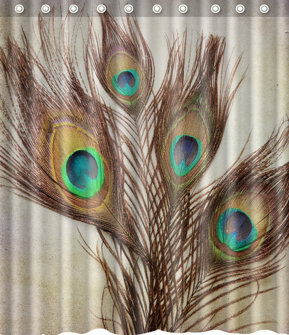Endearing peacock shower curtain featuring beautiful color peacock shower curtain and sidetable with rollers for your beautiful modern bathroom shower ideas