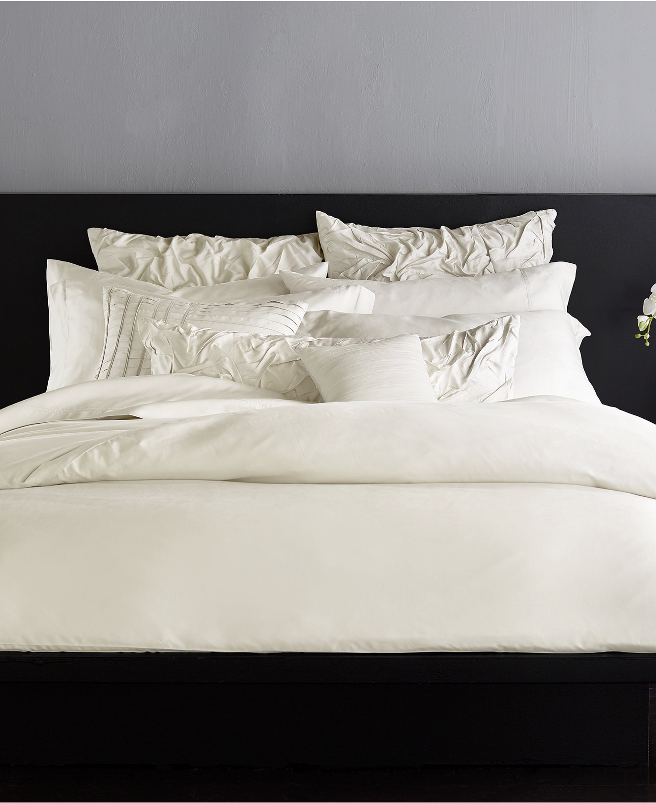 Engaging donna karan bedding with Cushion and pillows also beautiful duvet cover and sidetable and luxury wall paint color