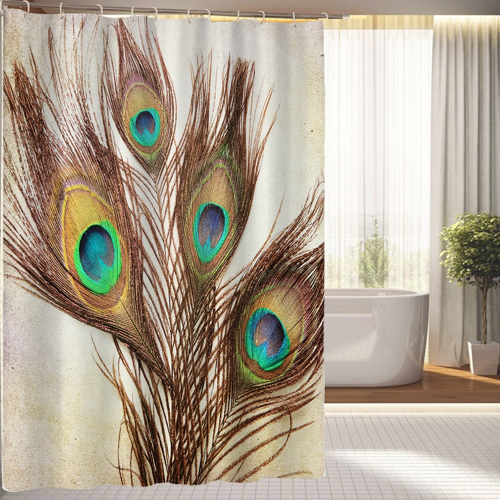Engaging peacock shower curtain featuring beautiful color peacock shower curtain and sidetable with rollers for your beautiful modern bathroom shower ideas