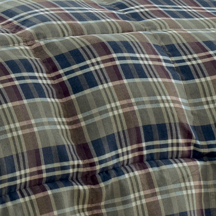 Engaging plaid comforter with rugs and wooden floor plus headboard and sidetable also pillows