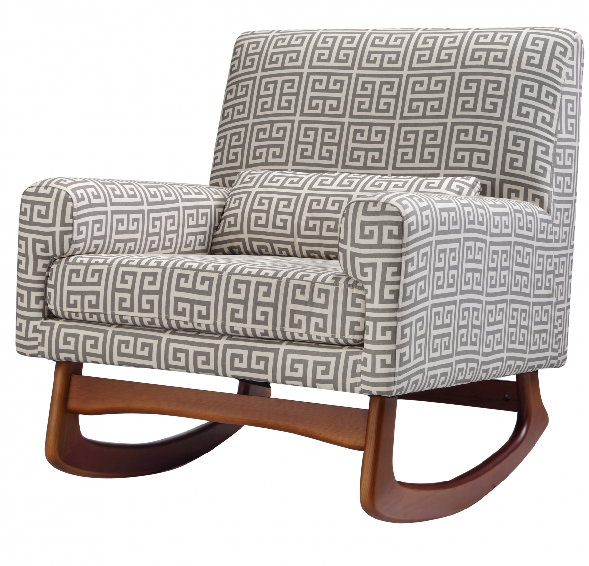 Enjoyable fabric upholstered glider rocker with armchairs and wooden laminate floor for living room