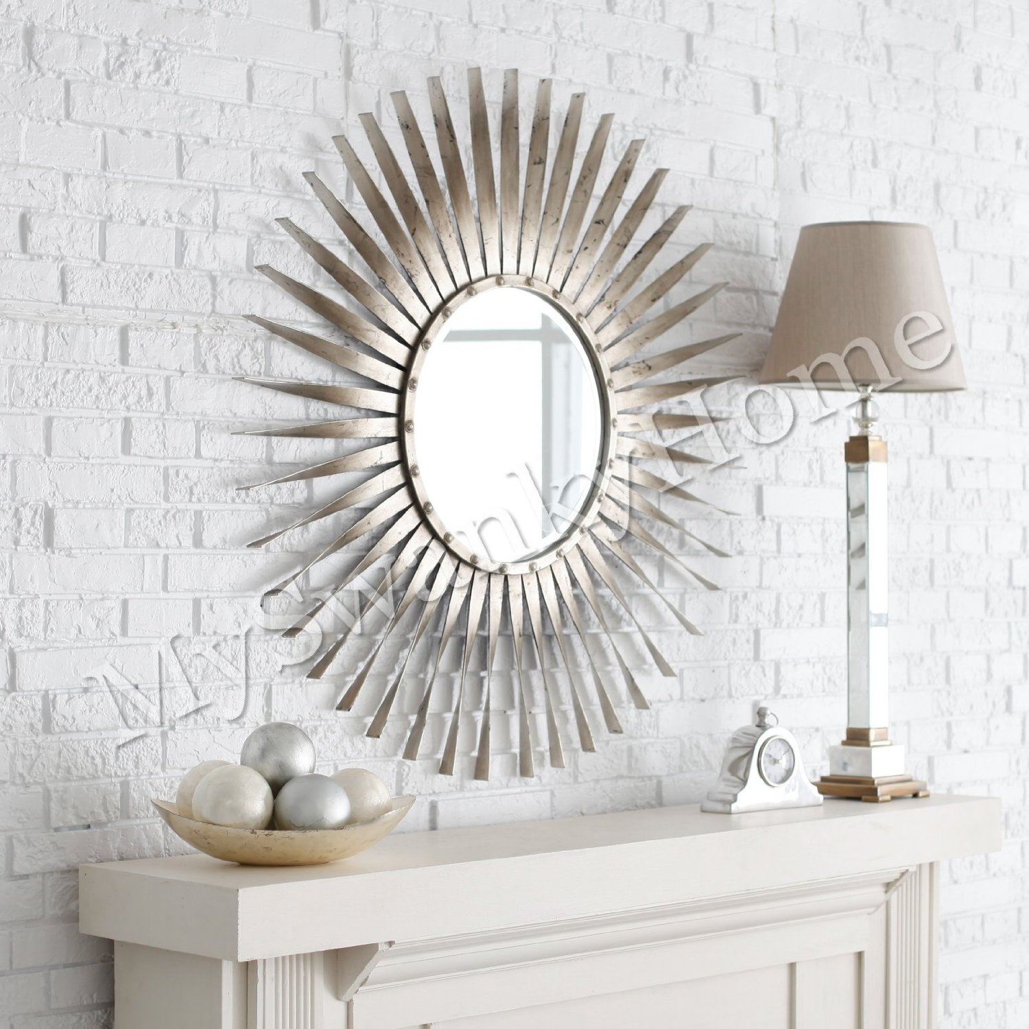 Enticing sunburst mirrors with rustic table and night lap combined plus luxury wall