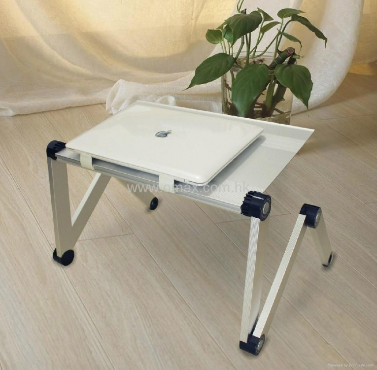 Entrancing Laptop Desk Stand With Aluminium Feet With Roll For Work Space Or Office Furniture Ideas