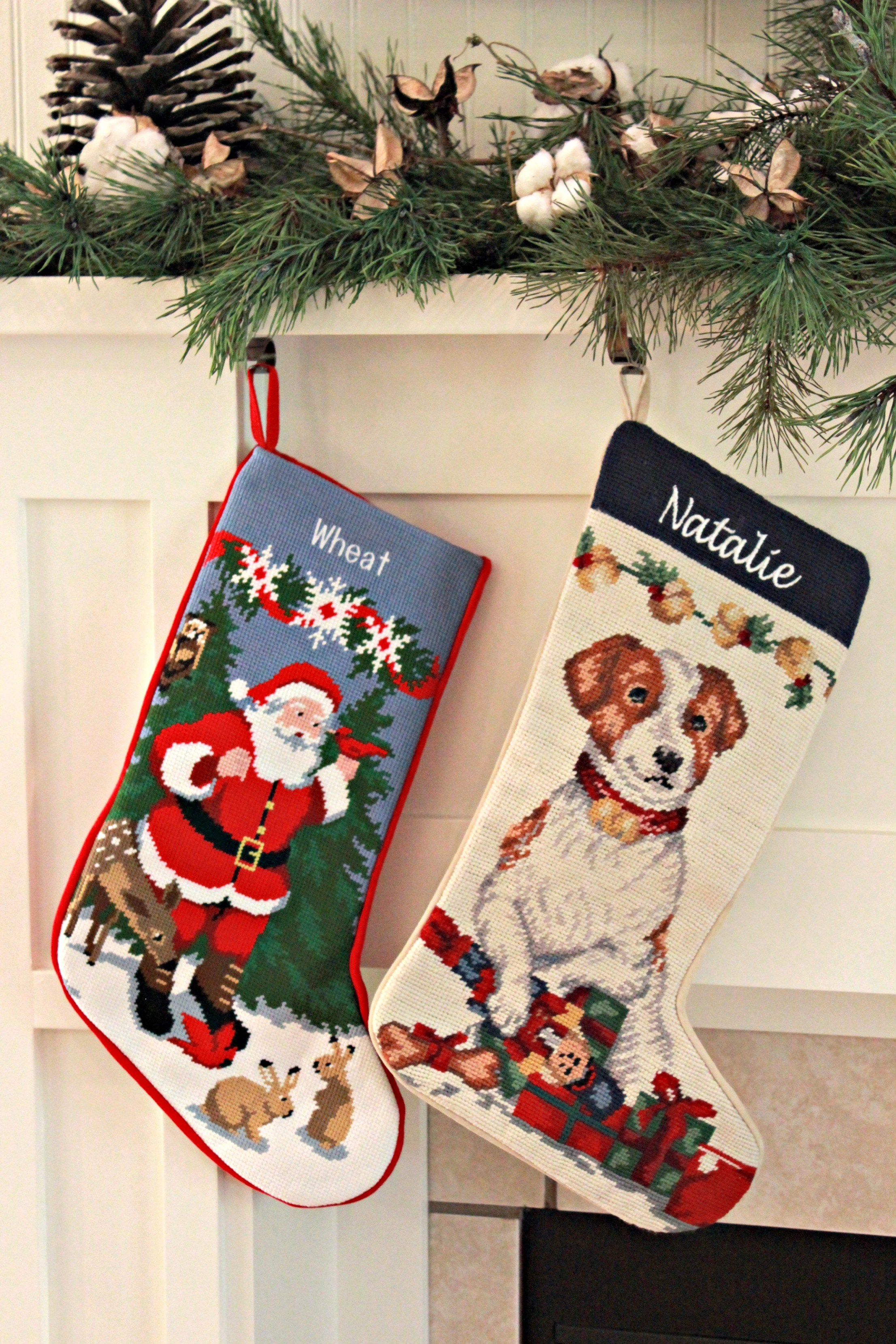 Entrancing needlepoint stockings and fireplace with mantle shelves in the christmas day