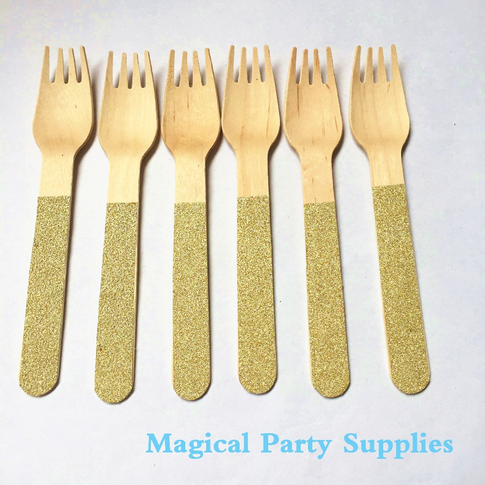 Exquisite gold plastic silverware with glitters gold plastic silverware for serverware ideas
