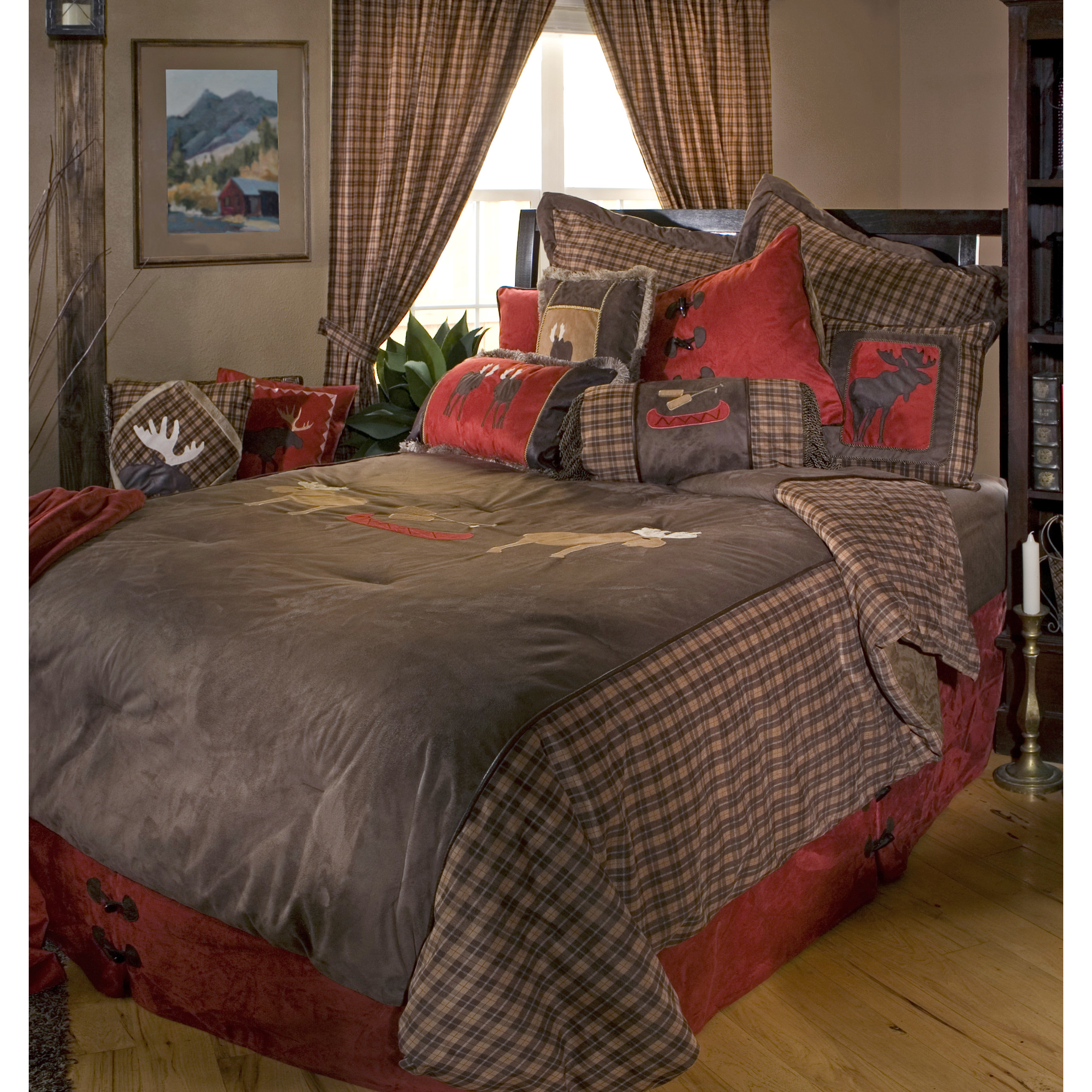 Exquisitie plaid comforter with rugs and wooden floor plus headboard and sidetable also pillows