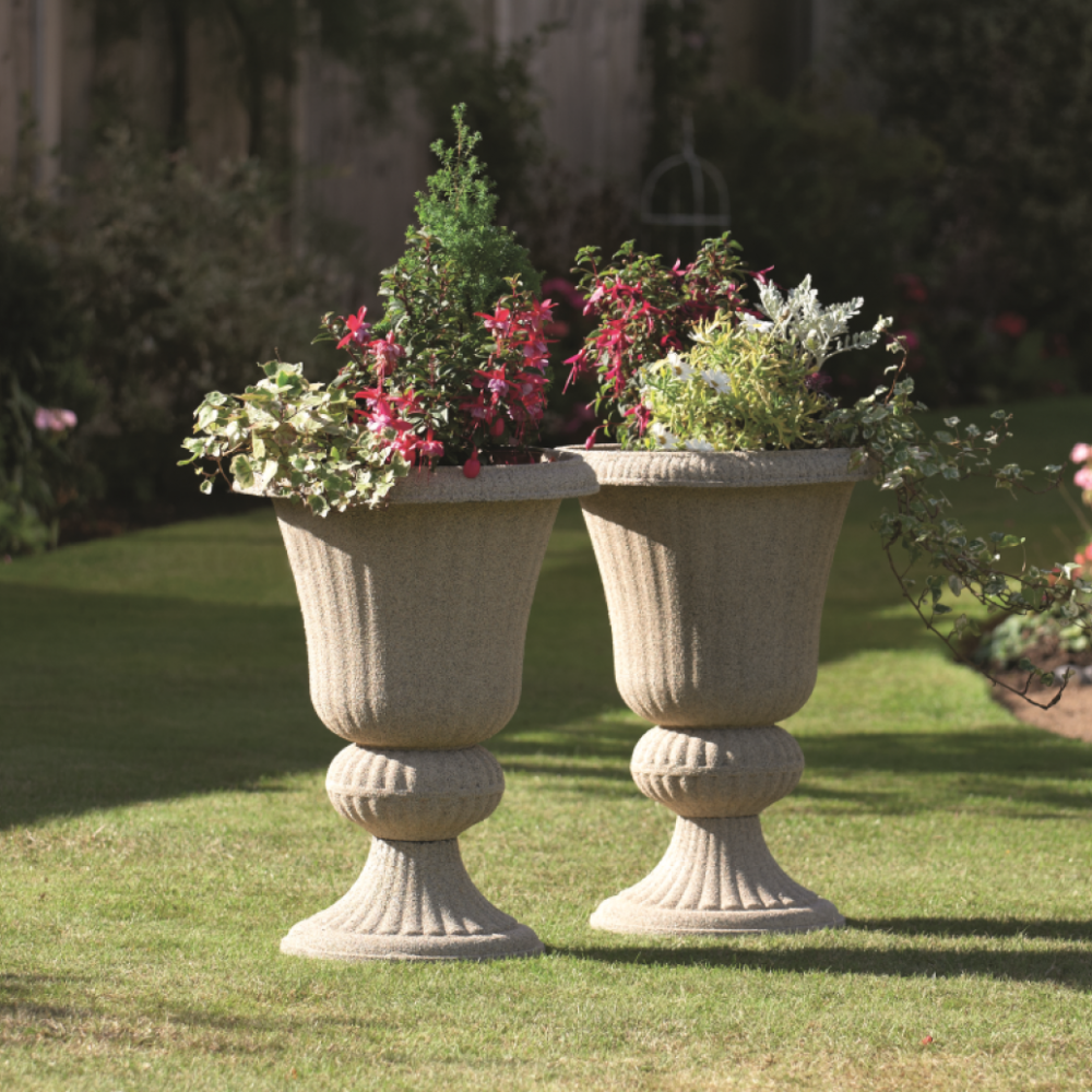 Fascinating Double urn planters for exterior