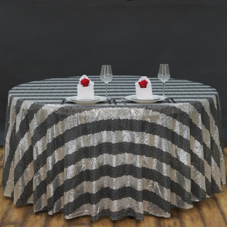 Fascinating Black And Gray 120 Round Tablecloth